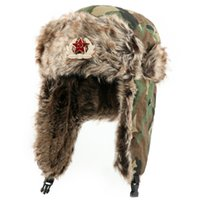 Ushanka Russian Hat with Faux Fur Soviet Army Bomber Hats Wi...