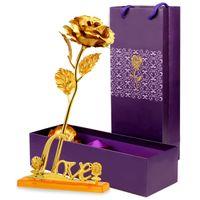 24K Folyo Kaplama Pembe Altın Gül Anneler Günü Sevgililer günü Şimdiki Hediye Altın Kaplama Çiçek Tatil Düğün Dekorasyon