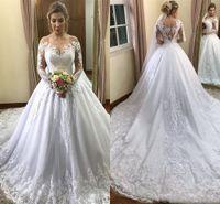 Manches longues modeste Une ligne dentelle robes de mariée 2020 arabe hors épaule Appliqued robes de mariée avec tribunal train, plus la taille robe de maternité