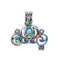 Nuevo Arco Iris carro de la calabaza de la perla de la jaula de bolas jaula colgante difusor Medallones para hacer la joyería de la ostra Akoya