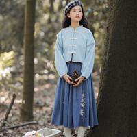 Reforma Hanfu danza de las mujeres del traje chino del bordado de la etapa del vestido Hada desgaste para cantantes orientales Rendimiento Ropa DC3157