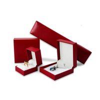 Vente en gros élégant rouge 5pcs / lot pendentif collier Bague Boucles d'oreilles Bracelet Boîte à bijoux Cadeau Boîte à bijoux Organisateur Afficher boîtes-cadeaux