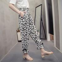 2020 nuovo arrivo Pantaloni Aslea Rovie Caviglia-lunghezza Lady Ufficio allentato chiffon elastico in vita floreali alta piatto Harem Cina (principali