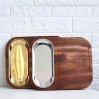 Serving Tray Rectangular Wood Dinner Fruit Snack Compartment...