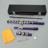 God kvalitet professionell flöjt cupronickel c nyckel 16 stängda hål konsertband flöjt musikinstrument lila