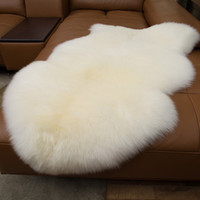 100% piel de oveja real alfombras de lana para sala de estar dormitorio manta de área de piel blanca cálida alfombra lanuda super suave cubierta de la silla Mat