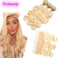 Malaysian Rohboden Menschliches Haar 613 Blondes Bündel mit Frontal 13x4 Ohr zu Ohr-Körper-Welle 4 Stücke / Los Jungfrau-Haar-Bundles mit frontaler