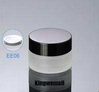 300 unids / lote vidrio 20 ml pequeña botella de cosmética mini 20g vacío helada crema tarro de frascos envases de frascos con tapas negras