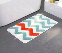 Geometic Bath Mat Water Absorption Rug Colorful Wave Pattern...