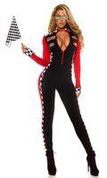 Frauen-reizvoller Racer-Mädchen-Overall, der Rennwagen-Fahrer-Kostüm läuft