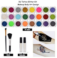 24 colores Kit Polvo Temporal brillo del diamante del brillo del tatuaje para el diseño del arte de cuerpo pintar con tinta Rhinestone pegamento + Brushe tatuaje