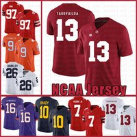 Alabama Crimson Tide 13 Tua Tagovailoa Football Américain Jersey 10 Tom Brady 26 Saquon Barkley 97 Nick Bosa Maillots blanc hommes