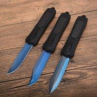 Satılık! Naylon Torbalı A163 Otomatik Taktik bıçak 440C Mavi Titanyum Kaplamalı Blade Alaşım + Karbon Elyaf Sap Cep Bıçaklar