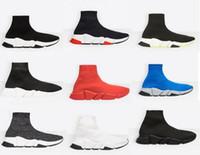 Новый дизайнер обуви скорость носок кроссовки стрейч сетки высокие сапоги для мужчин женские черный белый красный блеск Бегун плоские кроссовки US5-12