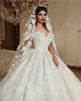 Vestidos de novia de lujo con flores de encaje 3D fuera del hombro Vestidos de novia de princesa vintage Arabia Saudita Dubai Vestido de novia de talla grande
