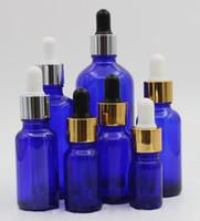 mavi cam damlalıklı şişe 10ml 15ml 20ml 30ml 50ml 100ml parfüm uçucu yağ e sıvı cam şişe altın gümüş beyaz kapaklı