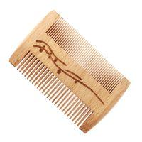 100pcs / lot 2 em 1 Cabelo de madeira pente portátil Escova de Cabelo pentes de madeira pentes filtro perfuradas Pode personalizar logotipo