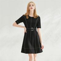 Femmes Robes Couleur Solid Slim Roman Tissu Tempérament Jupe Casual robe à manches courtes d'été O-cou de la mode vestimentaire