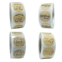 Bake with Love Stickers Kraft Paper Seal Label Sticker DIY C...