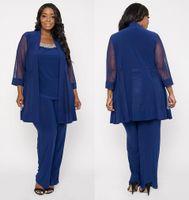 Azul Royal Mãe Calça Terno Com Jackest Chiffon 3/4 Mangas Colher Pescoço Longos Vestidos de Noite Plus Size Mãe Dos Vestidos de Noiva