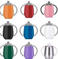 12OZ 360ml سيبي هوة كأس الفولاذ المقاوم للصدأ كأس بهلوان غطاء مع مقبض فراغ معزول تسرب إثبات سفر كوب الطفل زجاجة LJJK2017