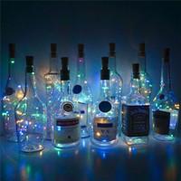 2M أضواء المصابيح 20 زجاجة النبيذ مع كورك بنيت في بطارية الصمام كورك الشكل الفضة الأسلاك النحاسية الملونة الجنية سلسلة الأنوار البسيطة