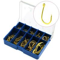 100pcs / 1box 3-12 # Gold Ise Hook Acero de alto carbono con orificio Ganchos de púas Anzuelos Pesca Carpa Aparejos de pesca Accesorios Caja azul