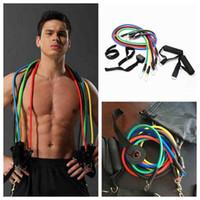 Sports de plein air Bandes de résistance de la latex d'entraînement Exercice Pilates Yoga Crossfit Tubes de fitness Tubes Tirez sur CORDE 11 PCS / SET ZZA2070 50PCS