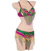 Formato S-XL Prestazioni Donne Discoteca professionale Outfit lungo Oriental Belly Dance Costume in rilievo Bra Belt