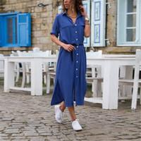 Femmes Bouton chaud d'été Nouveau dames de T-shirt Robe ample Casual Plus Size Tops Solid Button Ligne simple col en V longueur cheville