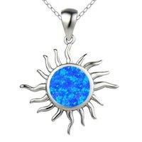 Venta al por mayor 10 PCS Plateado Sun Pendant Muchos colores Opalite Opal Collar para aniversario Regalo Joyería