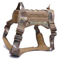 Novo Ajustável Serviço Tático Vest Cão Treinamento Caça Molle Nylon Resistente à Água Arnês do Cão de Patrulha com Handle Caçando