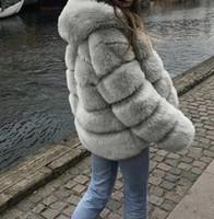 2019 Kış Kadın Artı Boyutu Mont Kapüşonlu Kalın Sıcak Faux Kürk Moda Uzun Kollu İnce Coat