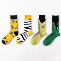 mens kadınlar tasarımcı marka çorap uzun tüp zebra çizgili timsah hayvan serisi kişilik çift Sınır ötesi moda rengi çorap