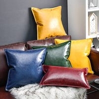 Nordic Style Vintage Pillow Case Fashion Leather Simple Deco...