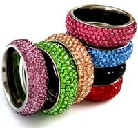 25pcs Color Mix Mix 5 Righe in acciaio Stanless Zircone CZ Anello di fidanzamento Wedding Anello Donne Elegante Elegante Chiaro Crystal Party Anello Cubic Zirconia Gioielli