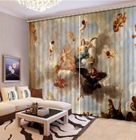 Cortinas europeus Quarto Photo Paint cortina para sala de estar anjo de mármore flor 3D Janela Cortinas
