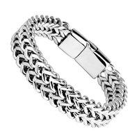 Bracciale a catena d'acciaio di titanio magnete per gli uomini Brace braccialetto intrecciato doppia fila di Hip Hop catena dei monili del braccialetto