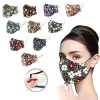 Floral de la mascarilla del polvo anti de PM2.5 Impreso algodón lavable filtro insertado Cúbrase la boca Máscaras diseñador de la máscara T1I2043