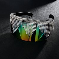Mode strass surdimensionné Miroir Lunettes de soleil Femmes Hommes Grand luxe Cadre Masque Diamond Protection des yeux Argent Lunettes Shade UV400 Y200619