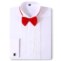 Erkekler Smokin Gömlek Düğün Uzun Kollu Elbise Fransız Kol Düğmeleri Kırlangıç Koyu Düğme Tasarım Gentleman Gömlek Beyaz Kırmızı Siyah katlayın