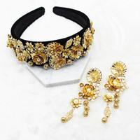 Partito dei monili delle donne del nuovo di modo oro di semi di girasole Foglia Corona barocco Prom capelli della fascia dei capelli della perla Wedding Tiara accessori regalo per C19041703
