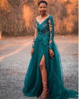 Bateau Neck Dark Green Prom Dresses with Slit Mangas compridas Pageant Dress Custom Evening Dresses