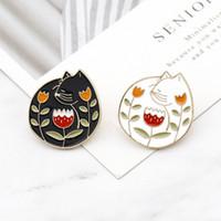 Yin Yang Pins Sammlung ~ Yin-Yang Katze schwarz weiße Blumen Broschen Abzeichen Emaille Pins japanischen Schmuck