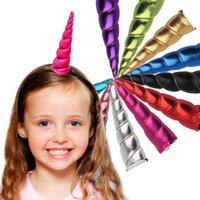 الرضع يونيكورن القرن أغطية الرأس للأطفال العصابات الكرتون الشعر مكافأة DIY العصابة Hairband هالوين عيد الميلاد الشعر الديكور TO588