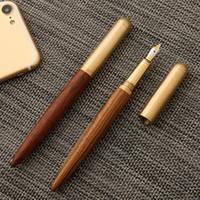 Luxo Clássico Metal Wood Fountain Pen 0.7mm Fine Nib Caligrafia Canetas Escrevendo Artigos de Papelaria Escritório Escola Suprimentos