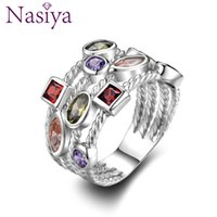 Fashion Colorful Gemstone Vintage Rings For Women Sterling S...