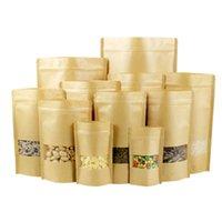 Бесплатная доставка Brown Kraft бумажных мешков Wedding Упаковка Мешок конфета Биной еда Хлеб партия Zipper самоклеющиеся Zip блокировки