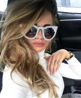 45557 Perlen-Diamant-Sonnenbrille Einzigartige Frauen CCSPACE Marke Brille Mode Weibliche Shades