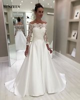A- line Boat Neck Off Shoulder Wedding Dress With Lace Long S...